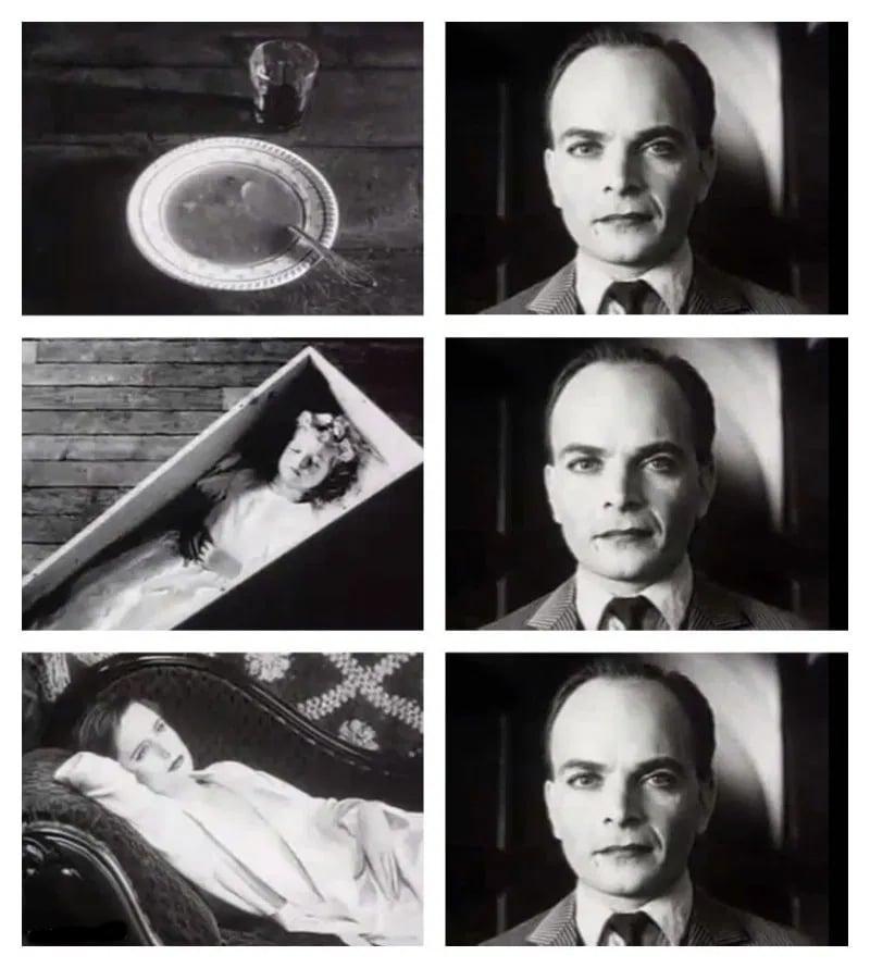 Plato de sopa, niña yaciendo en un cajón, mujer acostada en un diván; siendo vistas por un hombre con la misma expresión facial